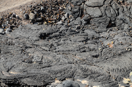 Volcanic Dry Black Lava Texture Background in Canary Island
