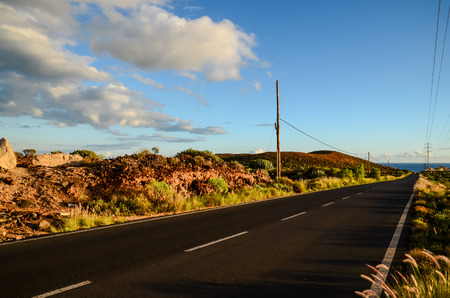 on the lonely road: Lonely Road in the Desert , Tenerife Canary Islands Stock Photo