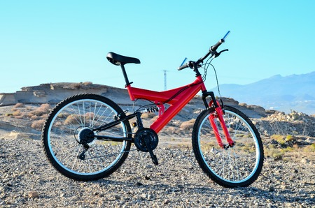 Modern Red Full Suspension Mountain Bike MTB Bicycle Stockfoto