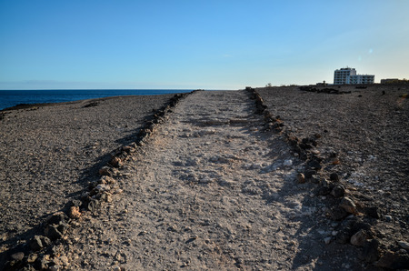 desert road: Long Empty Desert road in Canary Islands Spain