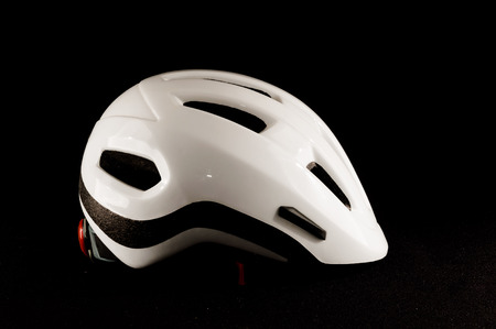 cycling mountain: Picture of a White Bicycle Bike Safety Helmet Stock Photo