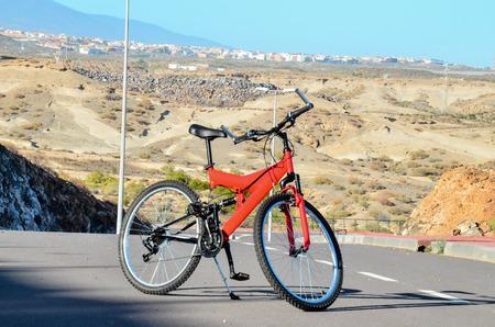 red mountain: Modern Red Full Suspension Mountain Bike MTB Bicycle Stock Photo