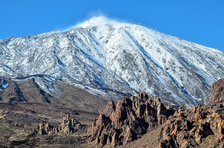 Desert Landscape in Volcan Teide National Park, Tenerife, Canary Island, Spain Stock Photo