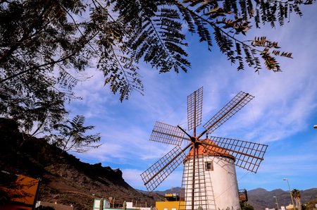 gran canaria: Vintage Wind Mill in Gran Canaria Canary Islands Spain