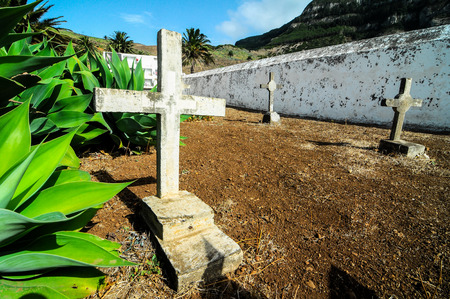 mediterrean: Typical Spanish Mediterrean Cemetery in La Gomera Canary Island Stock Photo