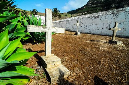 Typical Spanish Mediterrean Cemetery in La Gomera Canary Island Stock Photo