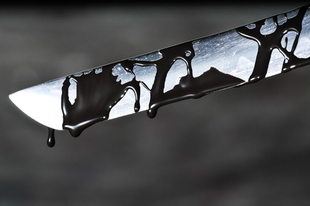 carnage: Sharp Katana Sword Blade Dripping Black Color Painting