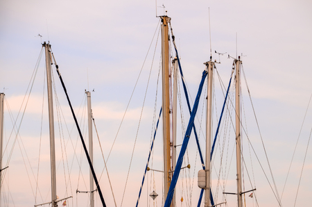Silhouette Masts of Sail Yacht in a Marine