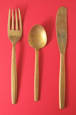 grunge silverware: Ancient Vintage Silver   Flatware on a Colored Background