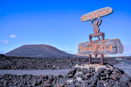 Volcanic landscapes on Timanfaya Lanzarote Canary Islands Spain 스톡 콘텐츠