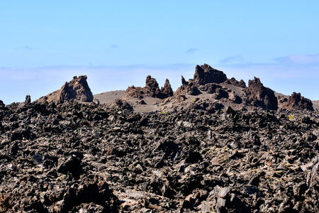 moab: Volcanic landscapes on Timanfaya Lanzarote Canary Islands Spain Stock Photo