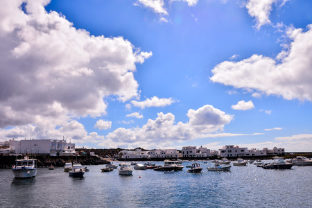 Spanish View Landscape in Orzola Lanzarote Tropical Volcanic Canary Islands Spain