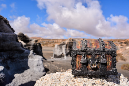 moab: Conceptual Photo Picture of a Treasure Trunk Object in the Dry Desert