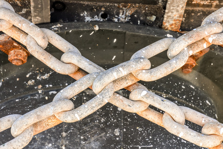 rusty chain: Photo picture of a naval old rusty chain link Stock Photo