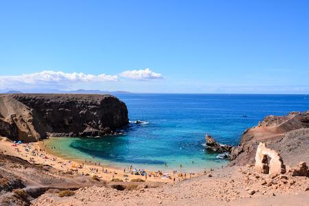 blanca: Spanish View Landscape in Papagayo Playa Blanca Lanzarote Tropical Volcanic Canary Islands Spain Stock Photo