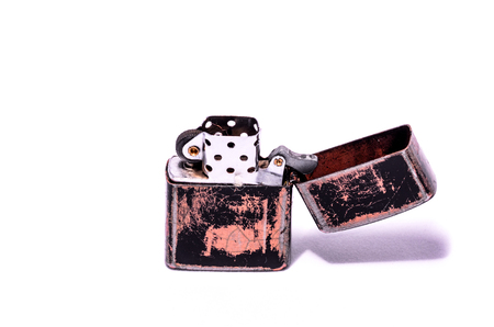 encendedores: Vintage  Style Lighter On a White Background Foto de archivo