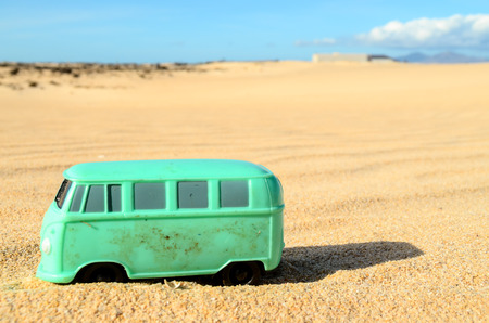 moab: Conceptual Photo Picture of a toy car in the dry desert Stock Photo