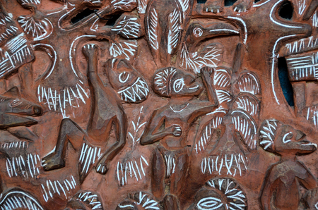Polesian Art의 골동품 조각 된 나무 Bas Relief 스톡 콘텐츠