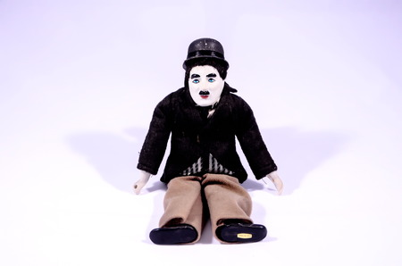 mimo: Clay Handmade Statue of a Mime on White Background