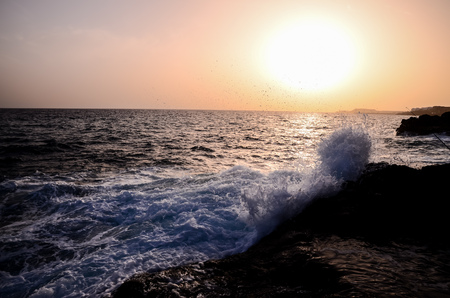eruptive: Strong Waves Crashing on the Volcanic Coast in Tenerife Canary Islands Stock Photo