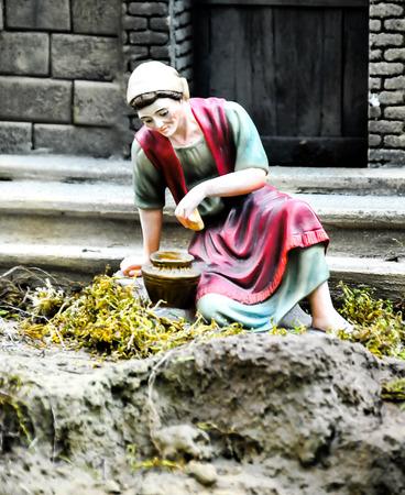 creche: Traditional European Statuette in a Christmas Crib Nativity Scene Stock Photo