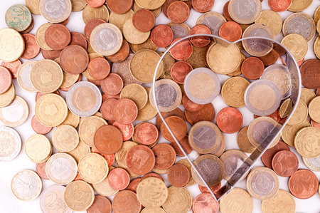 Picture of a Business Money Concept Idea Heart and Coins