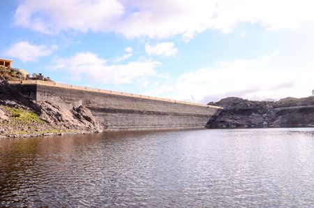 hoover dam: Artificial Lake Water Dam in the Canary Islands Gran Canaria