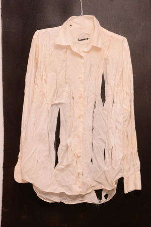 ruined: Old Vintage Ruined Grunge White Shirt Clothes Stock Photo