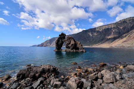 Roque de Bonanza beach in El Hierro Canary islands Spain Imagens