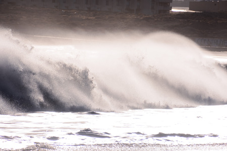 mare agitato: Rough Sea with Large Waves Breaking on the Coast