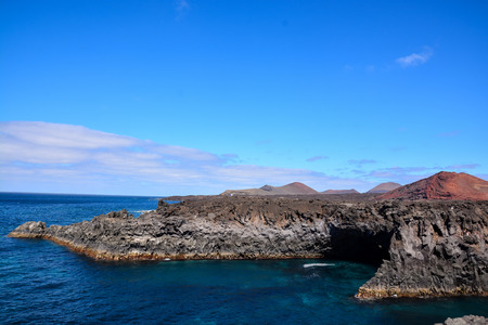 Spanish View Landscape in Lanzarote Tropical Volcanic Canary Islands Spain