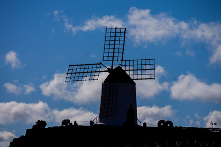 Spanish View Landscape Windmill Silhouette in Tropical Volcanic Canary Islands Spain Stock Photo