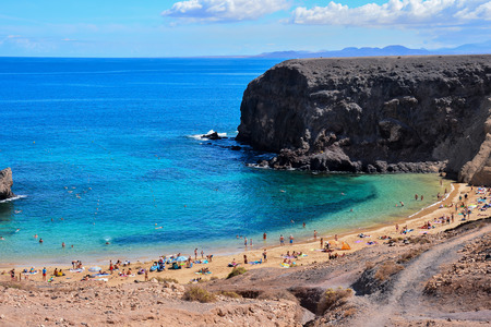Spanish View Landscape in Papagayo Playa Blanca Lanzarote Tropical Volcanic Canary Islands Spain Imagens