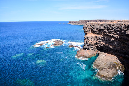 Spanish View Landscape in Fuerteventura Tropical Volcanic Canary Islands Spain