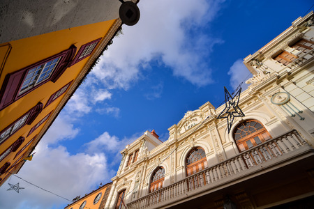 cristobal: City street view with church tower in La Laguna town on Tenerife island