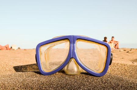 Photo Picture of a Diving Mask on the Sand Beach