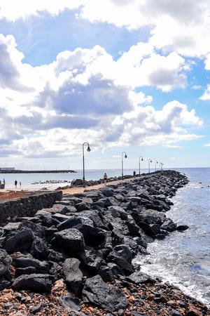 Español Ver el paisaje volcánico de Lanzarote Tropical Islas Canarias España Foto de archivo - 71657463