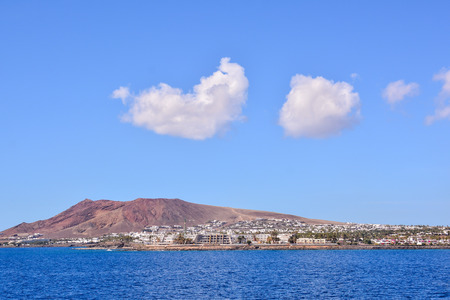 playa blanca: Spanish View Landscape in Lanzarote Tropical Volcanic Canary Islands Spain
