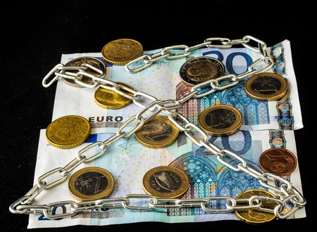 Euro currency on a black background