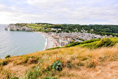 normandy: Photo Picture of Falaise dAmont Etretat City Normandy France Europe Stock Photo