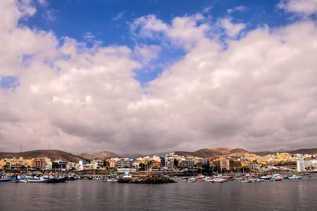 Spaanse weergave landschap in Arguineguin Gran Canaria tropische vulkanische Canarische eilanden Spanje