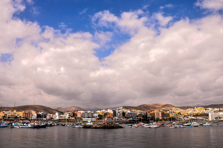 Spanish View Landscape in Arguineguin Gran Canaria Tropical Volcanic Canary Islands Spain