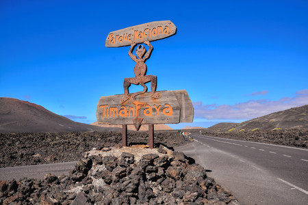 Volcanic landscapes on Timanfaya Lanzarote Canary Islands Spain 版權商用圖片