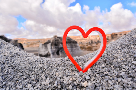 Conceptual Photo Picture of an Heart Love Object in the Dry Desert Stock Photo