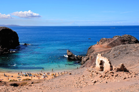 Spanish View Landscape in Papagayo Beach Playa Blanca Lanzarote Tropical Volcanic Canary Islands Spain