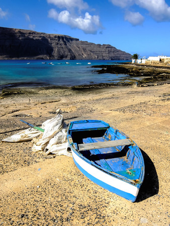 Spanish View Landscape in La Graciosa Lanzarote Tropical Volcanic Canary Islands Spain Boat in the Port