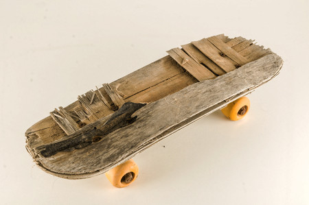 Photo Picture of a Vintage Style Concued Skateboard Background Stock Photo