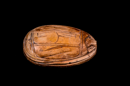 Ritual Egyptian Scarab Stone Isolated on Black Background