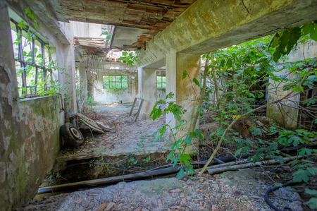 Abandoned Old Ruined Industrial Plant in Veneto Italy Stock Photo