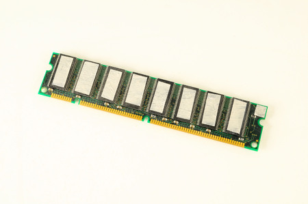 Close-up of ram memory pc computer part Object on a White Background